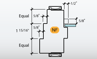 DE-Series Frame Profile N with C-Series Frame Profile F