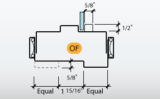 DE-Series Frame Profile O with C-Series Frame Profile F