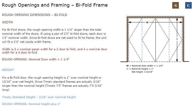 Download Bi Fold Frame Rough Opening Image